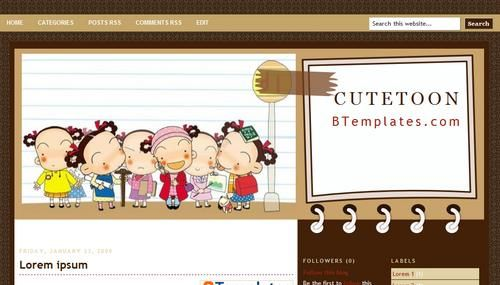 Cute Toon template blogger