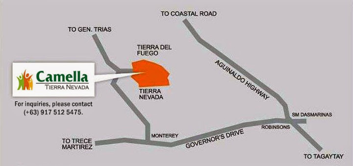 Vicinity Map Location Carmela Ready Home - Camella Tierra Nevada | Crown Asia Prime House for Sale General Trias Cavite