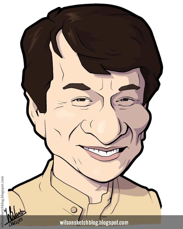 Cartoon caricature of Jackie Chan.