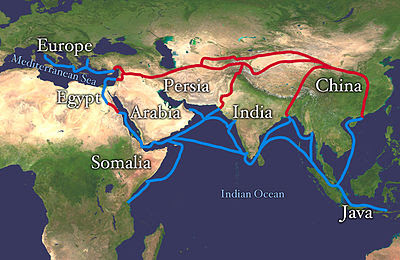 Silk Road extending from Europe through Egypt, Somalia, the Arabian Peninsula, Iran, Afghanistan, Central Asia, Pakistan, India, Bangladesh, Java-Indonesia, and Vietnam until it reaches China. The land routes are red, and the water routes are blue.