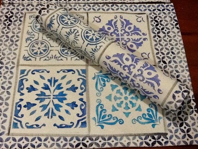 Artesanato Em Mdf Para Cozinha ~ Andrea Milan Estamparia Artesanal est u00eancil de azulejo portugu u00eas na estamparia em tecido