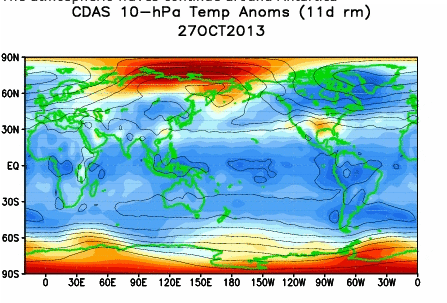 stratosphere 10mb temp 27th oct 2013