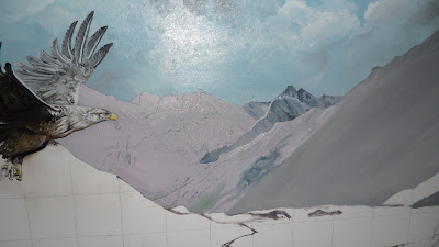 Work in Progress, Underpainting. Source shows close up Distant mountains close up.