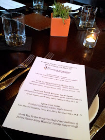 Meriwether's Sunday Supper series with Portland Creamery, the menu