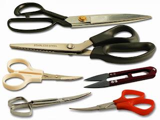 Tipos de tijeras para cortar telas e hilos