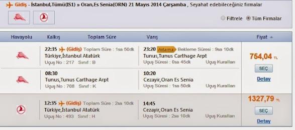 ONLİNE İstanbul-Oran Uçak Bileti Al