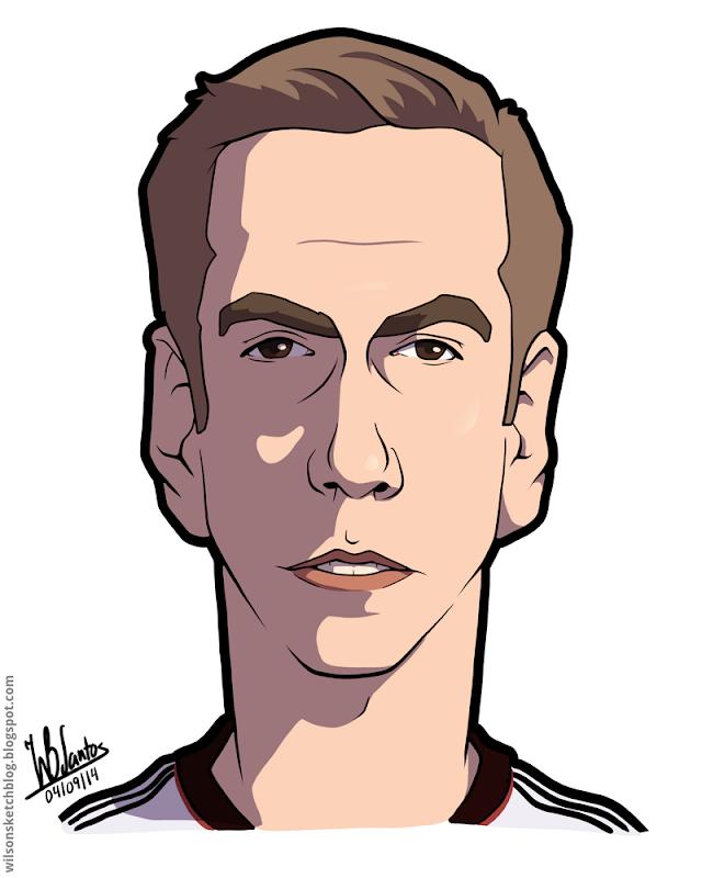 Cartoon caricature of Philipp Lahm.