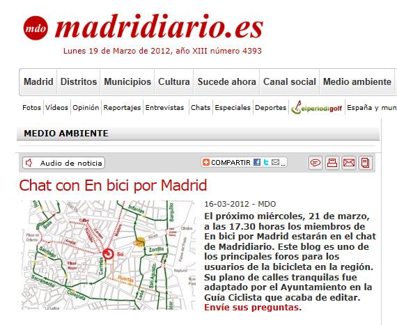 Chat con 'en bici por madrid' en Madridiario