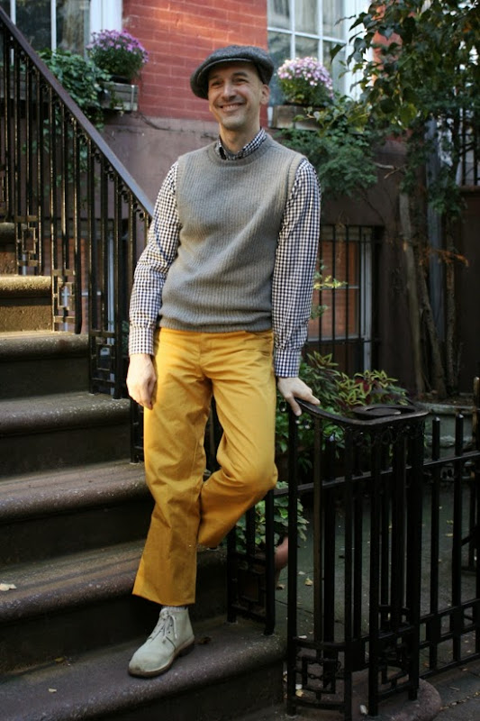 Menswear sewing: ribbed knit vest, gingham cotton shirt and mustard-yellow cotton twill pants; all fabric from Mood Fabrics.