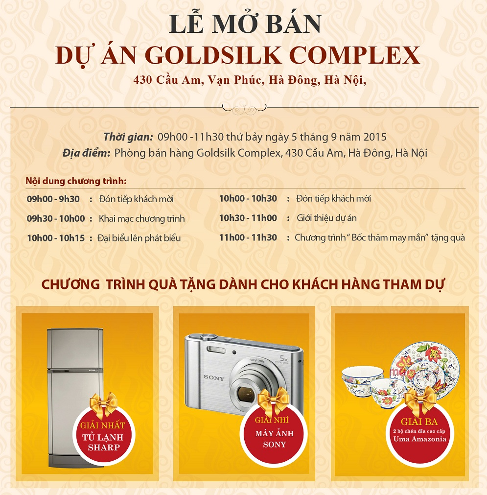 Thư mời dự lễ mở bán chung cư Goldsilk Complex