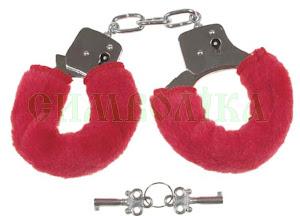 MFH Наручники з двома ключами хром в червоному кожусі:29353