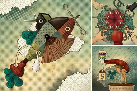Ilustrações para a Época Negócios, de Leandro Lima
