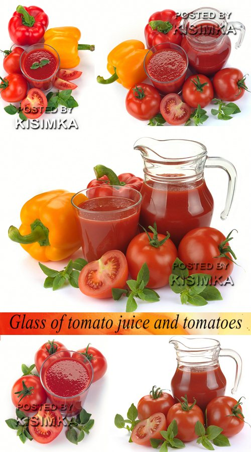 Stock Photo: Glass of tomato juice and tomatoes