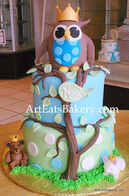 Boy's baby shower cake with 3D owl, teddy bear and bunny with edible gold crown and tree