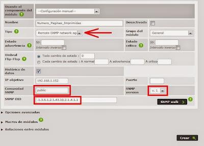 Añadir módulo monitor a agente en Pandora FMS para obtener número de páginas imprimidas por SNMP