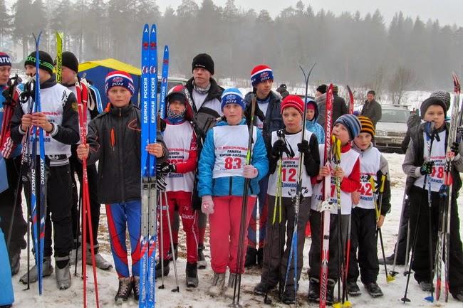 Угличские лыжники на соревнованиях в Данилове посвященных 26-ой годовщине вывода советских войск из Афганистана