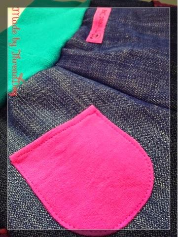 Pumphose aus Jeans mit Taschen - Gesäßtasche