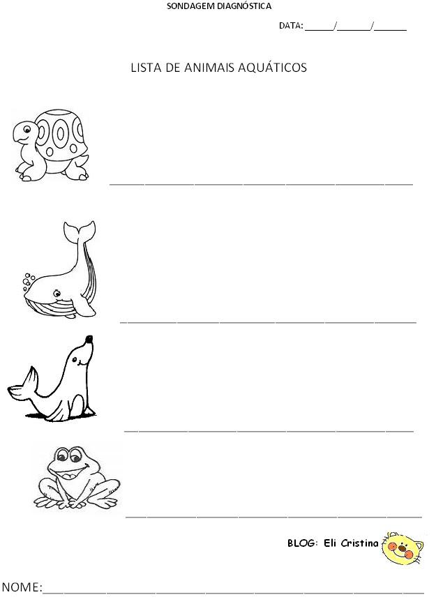 Suficiente Alfabetização: Sondagem diagnóstica modelo de atividade animais  ZC66