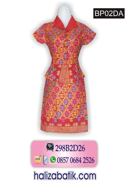 dress batik modern, model dress batik, model busana batik