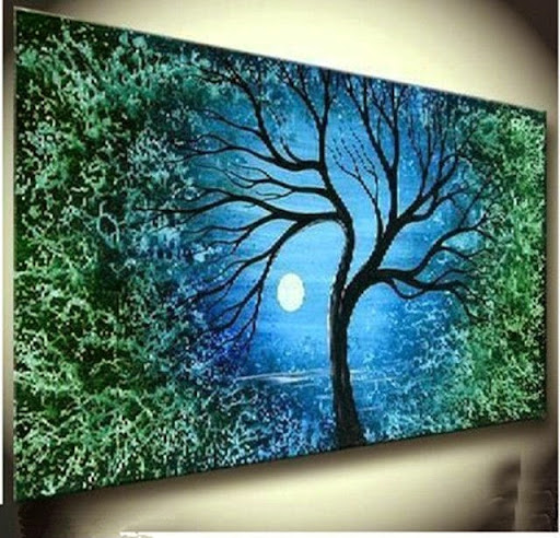 MODERN ABSTRACT HUGE TREE CANVAS ART OIL PAINTING A/487