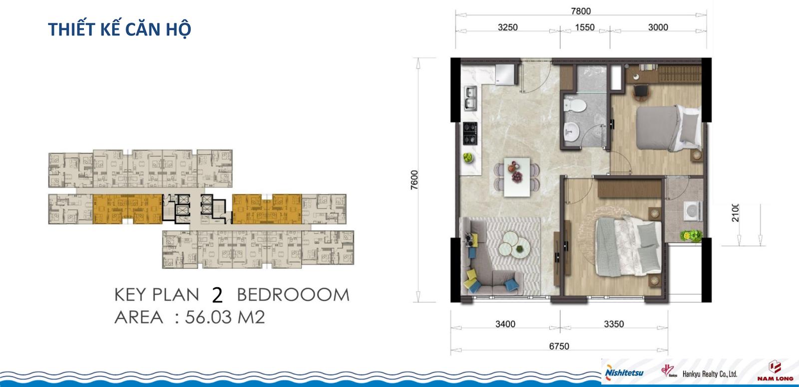 Thiết kế căn hộ Akari City 56m2