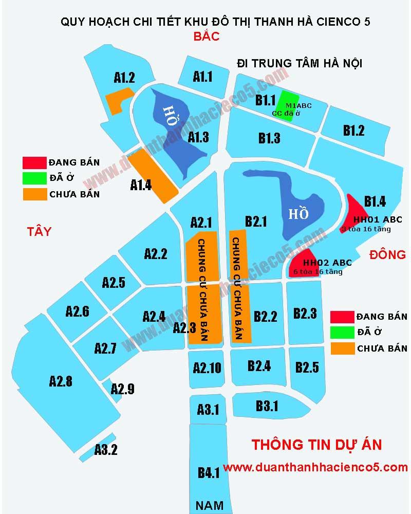 Bản đồ chung cư Thanh Hà Cienco 5 Mường Thanh