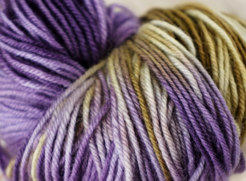 Handpainted yarn in green and purple