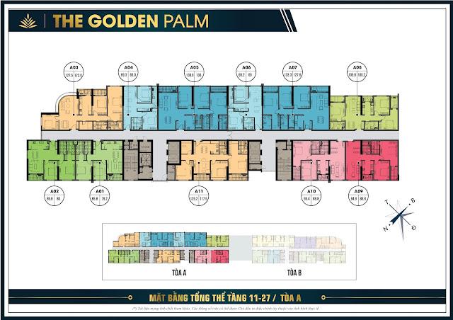 Mặt bằng thiết kế tầng 11 - 27 tòa A The Golden Palm