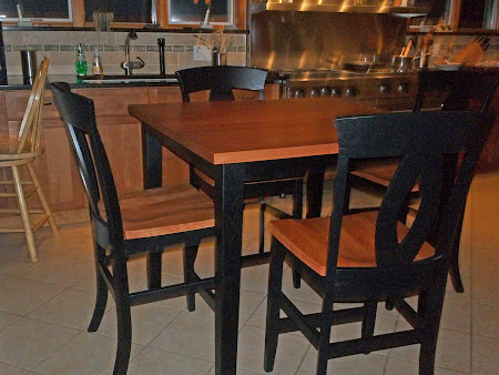 Rio Barstools and 42 x 42 Custom Pub Table in Red Cherry and Midnight Oak