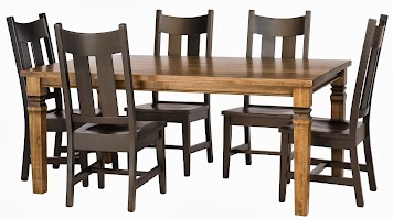 Corsica Dining Table in Lamar Maple, and Montrose Dining Chairs in Sable Maple