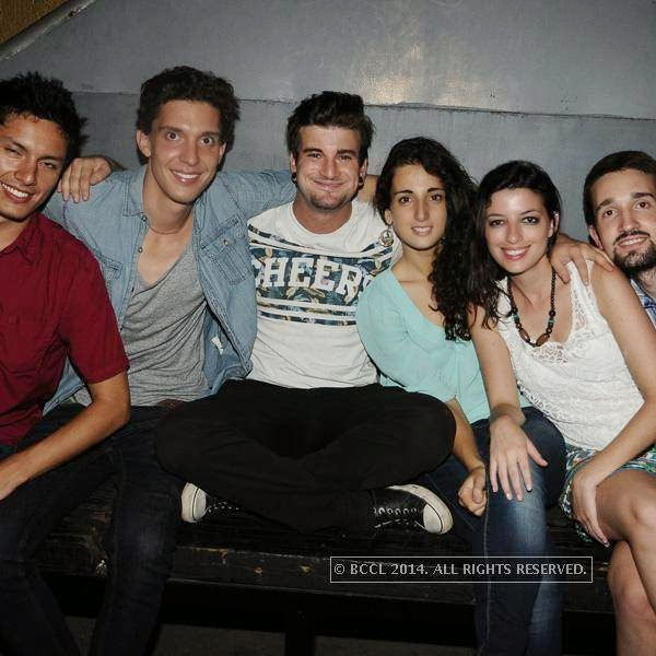 Marco, Fabian, Christian, Inara, Flavia and Jerome during the party, in Chennai.<br /> <br />