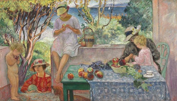 Henri Lebasque - Tasting fruits on the terrasse at Sainte Maxime-1914