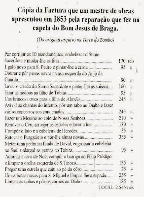 Factura do mestre de obras pela reparação da Capela do Bom Jesus de Braga em 1853