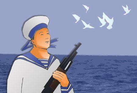 Tranh vẽ người lính biển đảo