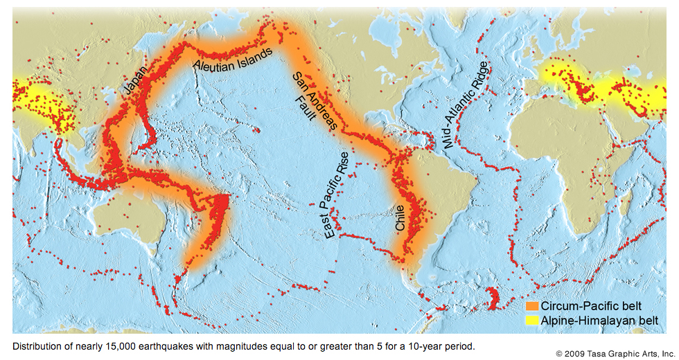 Why are there earthquakes and volcanoes in japan in response to worldwide earthquake distribution figure from tasa graphics click to view larger gumiabroncs Gallery