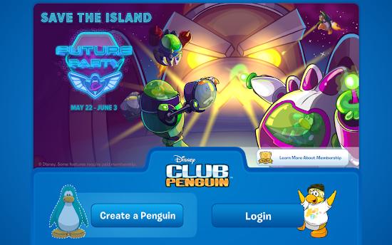 Club Penguin Future Party Login Screen