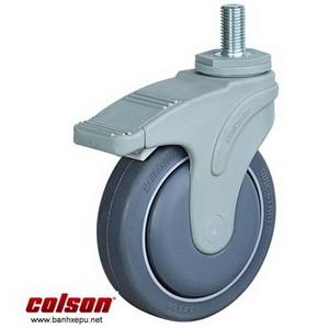 Bánh xe cao su có khóa cọc vít chịu tải 100kg | STO-5854-448BRK4