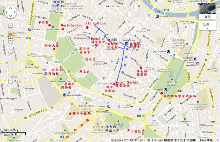 維也納景點地圖