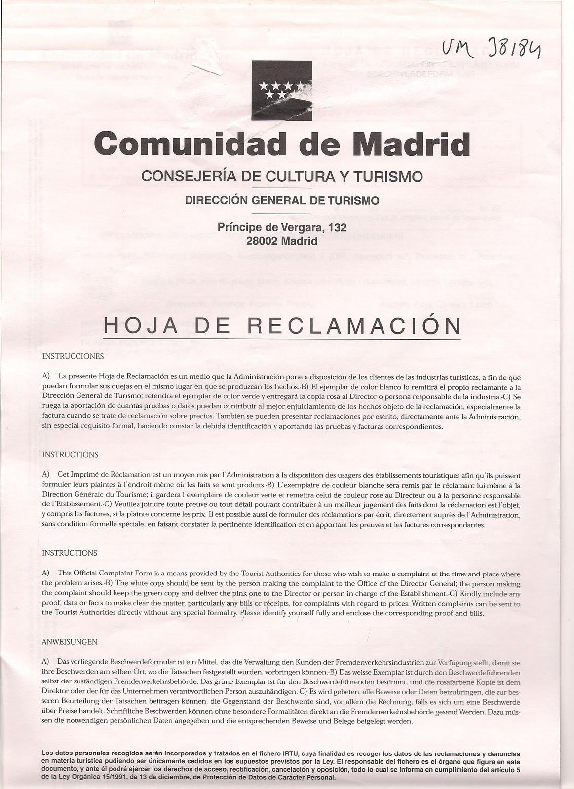 Hoja de reclamacin comunidad de madrid montar un bar y for Oficina de turismo de la comunidad de madrid