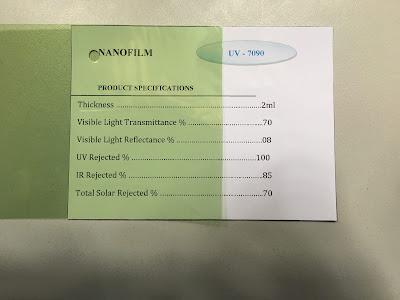 Mẫu phim cách nhiệt UV 7090 Nano Film
