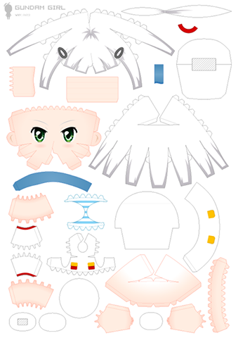 Welcome to papercraft art blog gundam girl cute papercraft for Cute papercraft templates