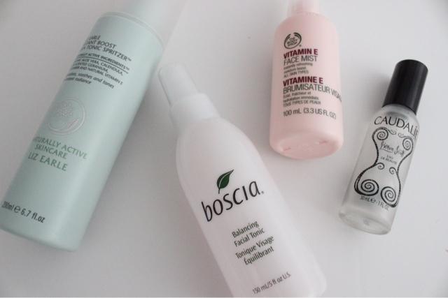 Hydrating Face Sprays: Liz Earle Skin Tonic, The Body Shop Vitamin E Face Mist, Boscia Balancing Facial Tonic, Caudalie Beauty Elixir