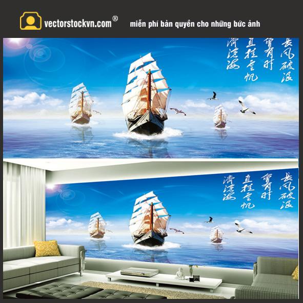 Tranh thuận buồm xuôi gió. Thuyền và biển. TRanh dán tường tại biên hòa
