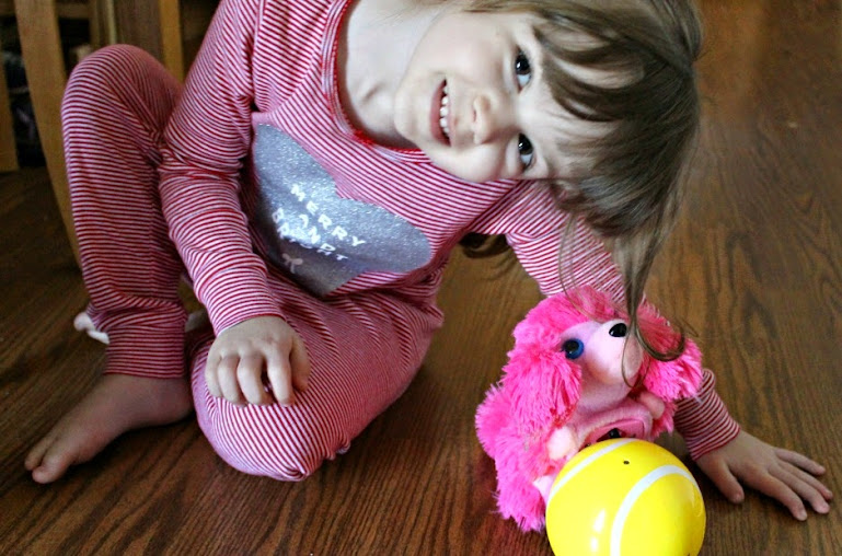 Meet The Happy's Pets - this is Lulu the pink poodle. Please note that Lulu was turned off for this photo, and kids should never let their hair near #TheHappys