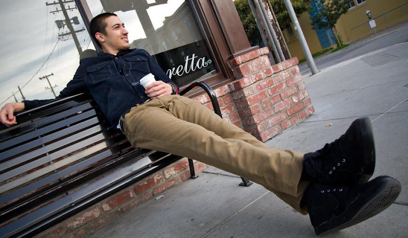 Khaki Moleskin Pants: Phil waiting on a bench
