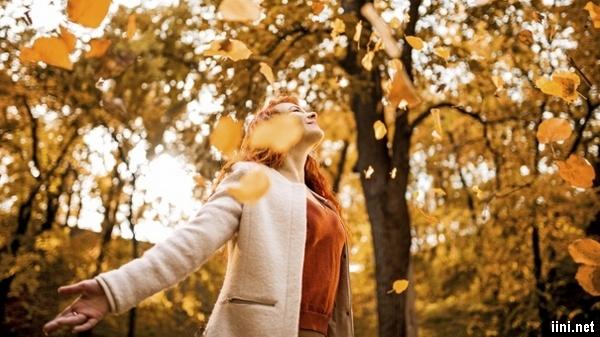 ảnh cô gái và những chiếc lá mùa thu rơi rụng