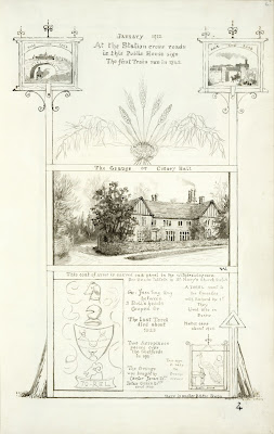 A Record of Shelford Parva by Fanny Wale P4 fo. 6, page 4:. On the left and right of the page are two black and white watercolours of the signs at the public house 'Rail and Road' and 'Road and Rail' depending on which sign you look at. Underneath in the centre of the page is a black and white colour of the Grange or Corney Hall at Shelford. At the bottom is another public house sign 'The Peacock' drawn in watercolour. In the left hand corner is a black and white watercolour of the Torel family's coat of arms and information to do with the Grange. [fo. 4]