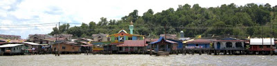 Houses on stilts in Kampong Ayer in Brunei on Borneo