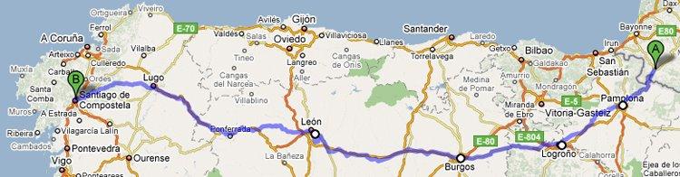 el camino térkép az úton   el camino de santiago: Térképek a Francia útról el camino térkép