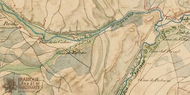 Mapa del tramo final del Canal del Manzanares. Año 1809. Fuente: Planea CAM.